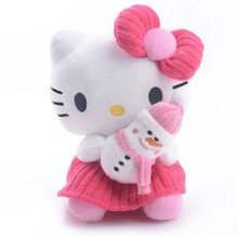 Plush Hello Kitty Red Dress Hold Snowman Skirt Suit Plush Cartoon Cat with Sucker Cute Dress