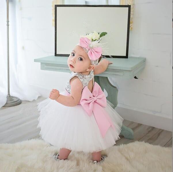Bling argent paillettes avec noeud rose ceinture tulle blanc court bébé fille 1 an robe d'anniversaire trou de serrure dos tutu robes de demoiselle d'honneur