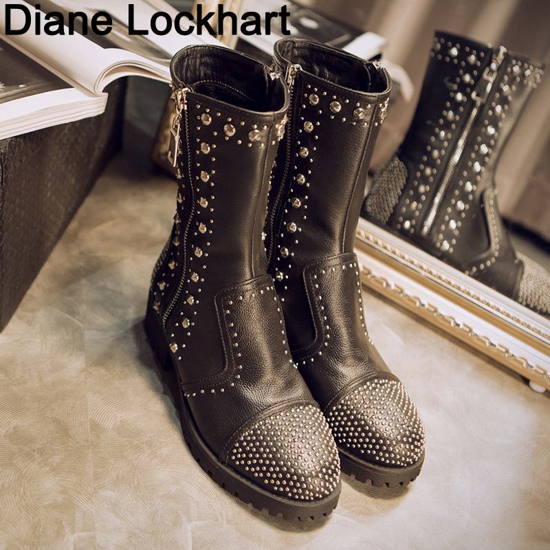 Genuine Leather Boots Women Rivets Punk Square Heels Unique Autumn Winter Ankle Boots Round Toe Shoes Woman Motorcycle Snow BootGenuine Leather Boots Women Rivets Punk Square Heels Unique Autumn Winter Ankle Boots Round Toe Shoes Woman Motorcycle Snow Boot
