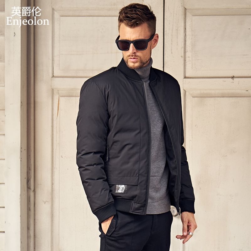 Enjeolon Brand 2019 Winter Jacket Coat Men Winter Coat Windproof Parka Men Black Thick Quilted Mens Parka Coat Clothes MF0293
