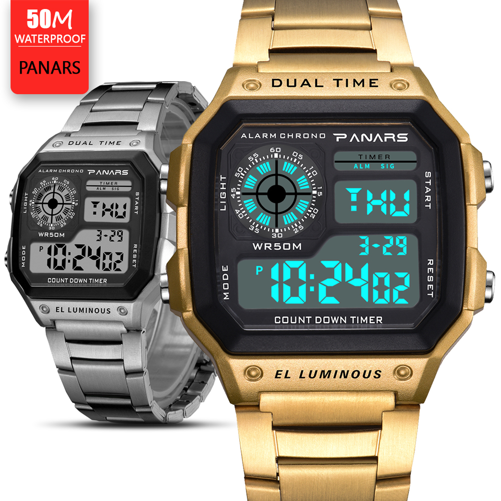 Prevail Mens Watches Relojes Deportivos Sports Watch 50m Waterproof Stainless Steel Fashion Gold Digital Wristwatches Male Clock