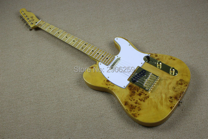 Custom Shop <font><b>telecast</b></font> electric <font><b>guitar</b></font> burl maple cover basswood <font><b>body</b></font> 22frets fingerboard gold hardware high quality tl <font><b>guitar</b></font> image