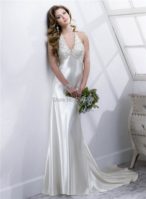 2015 Newly Arrival Top Quality Skintight Wedding Dresses White Satin ...