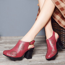 2017 Summer Womens Sandals Grey Ladies 8CM Extreme High Heel Shoes Handmade Women Shoes Genuine Leather Retro Hollow Out Shoes