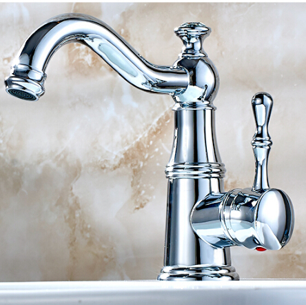 ФОТО Free Shipping Solid Brass Bathroom Sink Basin FaucetChrome Brass Ceramics Handle Retro Style Mixer Tap Deck Mounted Water Tap