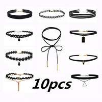 ZIRIS 10PCS New Gothic Tattoo Leather Choker Set for fashion Women Hollow Out Black Lace Necklace Jewelry chokers