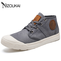 New 2018 Spring Summer Men Canvas Shoes Men Sneakers Mid top Black Mens Shoes Casual Brand Fashion Sneakers Male Footwear
