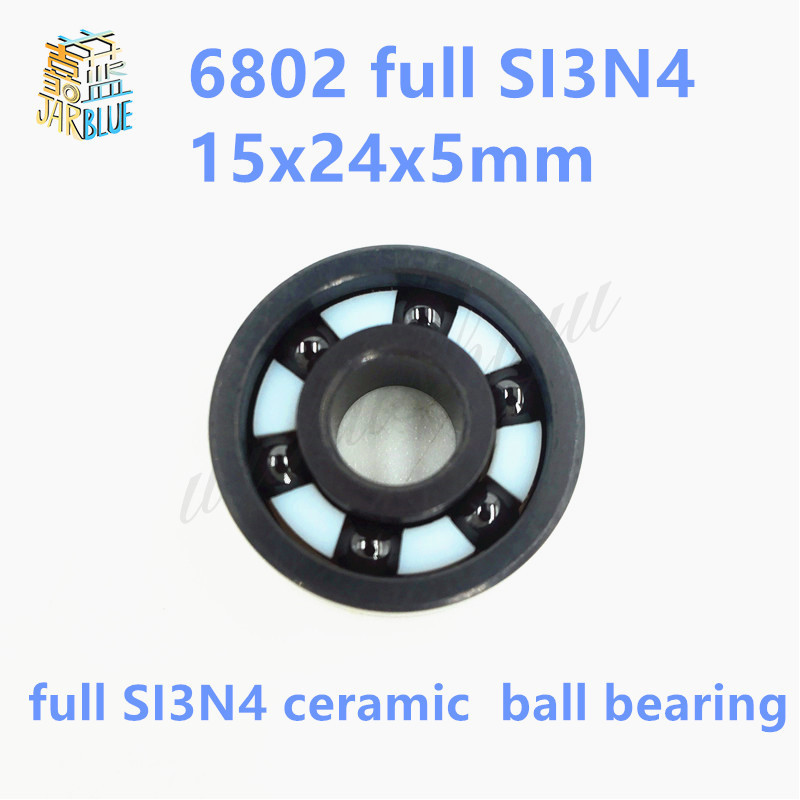 Free shipping 6802-2RS full SI3N4 ceramic deep groove ball bearing 15x24x5mm 6802 2RS free shipping 6806 full si3n4 p5 abec5 ceramic deep groove ball bearing 30x42x7mm 61806 full complement