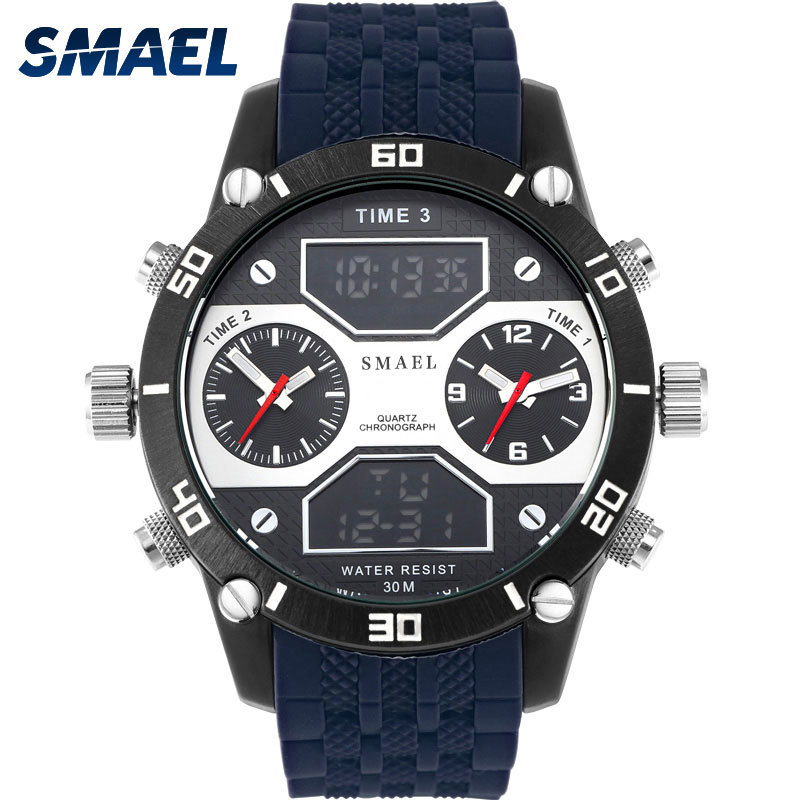 Men Sport Watch Water Resistance Smael Three Time Display Hour Digital Watch Light Waterproof 1159 Luxury Men's Wrist Watches smael lady watch for woman sport waterproof watch top brand luxury men digital wrist watch 1632 children nurse valentine watch