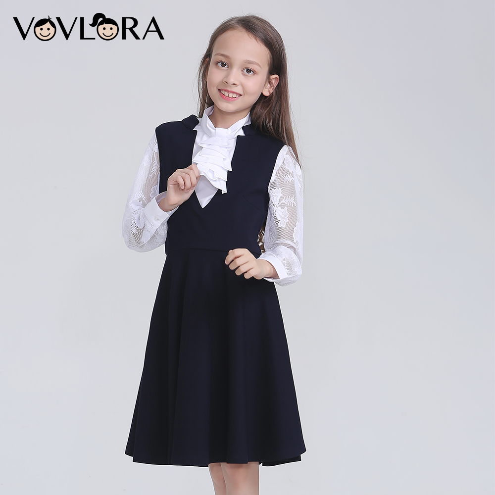 Sleeveless V Neck 2018 Dress School A Line Knitted Solid Kids Dress Girls School Clothes New Arrival Size 9 10 11 12 13 14 Years girls school blazer v neck formal double breasted kids jacket long sleeve slim solid suit summer 2018 size 9 10 11 12 13 14 year