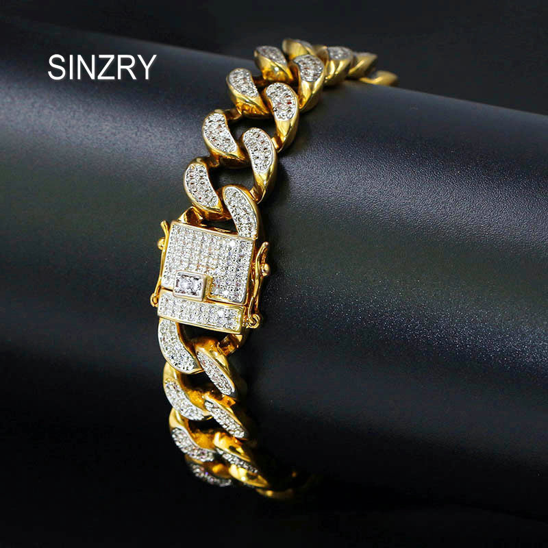 SINZRY AAA Cubic Zirconia Cuban Chain BraceletsMen's Hip hop Jewelry Gold Color CZ Clasp Bracelet Link 7 rose gold black color unique new cuban link chain design cool mens jewlery hiphop rock wide cuban link chain bracelet bangle