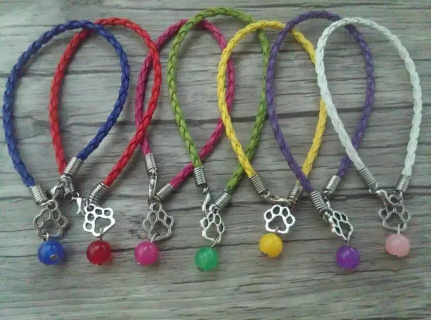 HOT Cat Dog Paw&Bead Fashion Ancient silver Charm Braided Leather Bracelets & anklets For woman jewelry accessories 20pcs A61