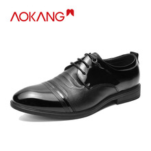 AOKANG 2018 Summer men shoes genuine leather shoes man comfortable breathable men derby shoes hardwearing dress shoes men