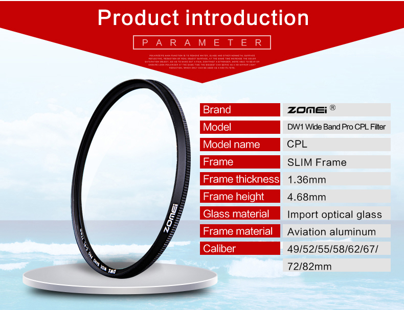 Zomei 52mm CPL Circular Polarizer Polarizing Filter for Canon Nikon Sony Camera Lens 40.5/49/52/55/58/62/67/72/77/82mm 3