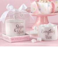 20pcs Sugar Spice Everything Nice Ceramic Sugar Bowl Novelty Wedding Favors Baby Shower Gift Wa3308
