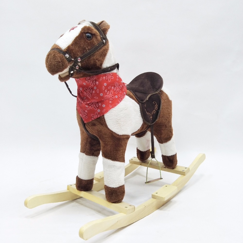 New Chirstmas Wooden Rocking Horses Indoor And Outdoor Amusement Walking Horse Toys Ride On Horse Toy For Baby/Kids/Teenager