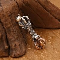 S925 sterling silver jewelry Thai silver retro style Buddha magic weapon vajra pendant Man and woman's pendant