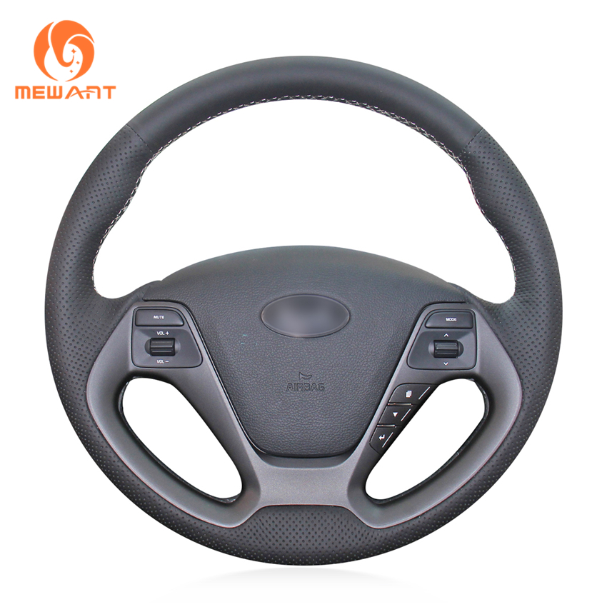 MEWANT Black Genuine Leather Car Steering Wheel Cover for Kia K3 2013 K2 Rio 2015 2016 Ceed Cee'd 2012-2017 Cerato 2013-2017 kalaisike leather universal car seat covers for kia all models ceed rio sportage sorento optima cerato k2 k3 k4 k5 car styling