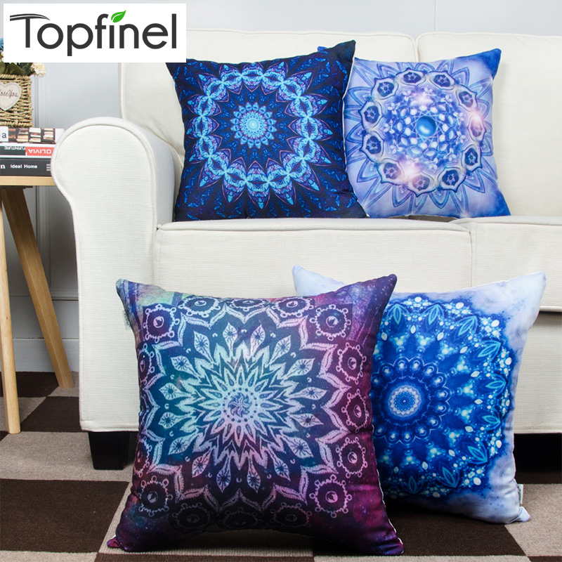 Bohemian Style Decorative Throw Pillow Cases Cushion Cover for Sofa Couch Armchair Seat Gradual Blue 45x45cm
