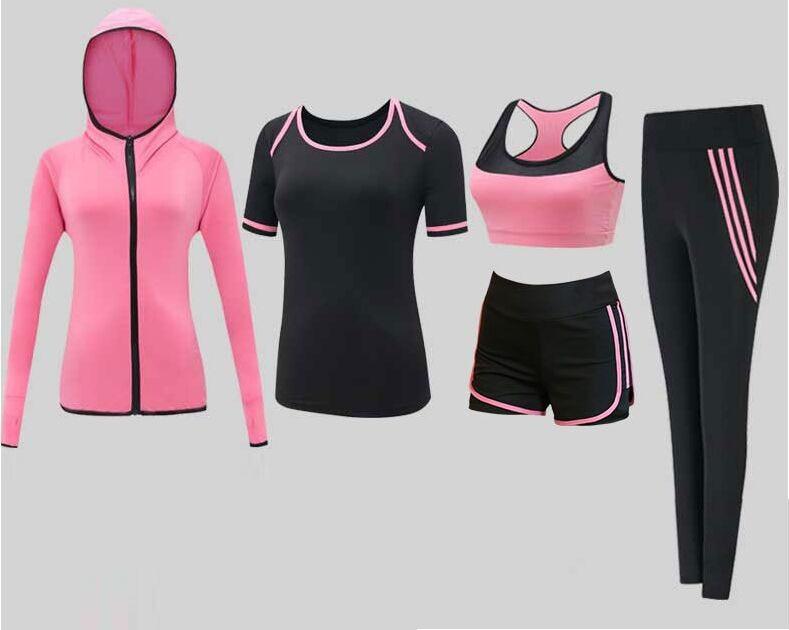 Survêtements pour femmes ensemble de Yoga sportif vêtements de Sport vêtements d'entraînement vêtements de Sport veste de costume de Fitness + soutien-gorge + t-shirt + short + Legging XXL