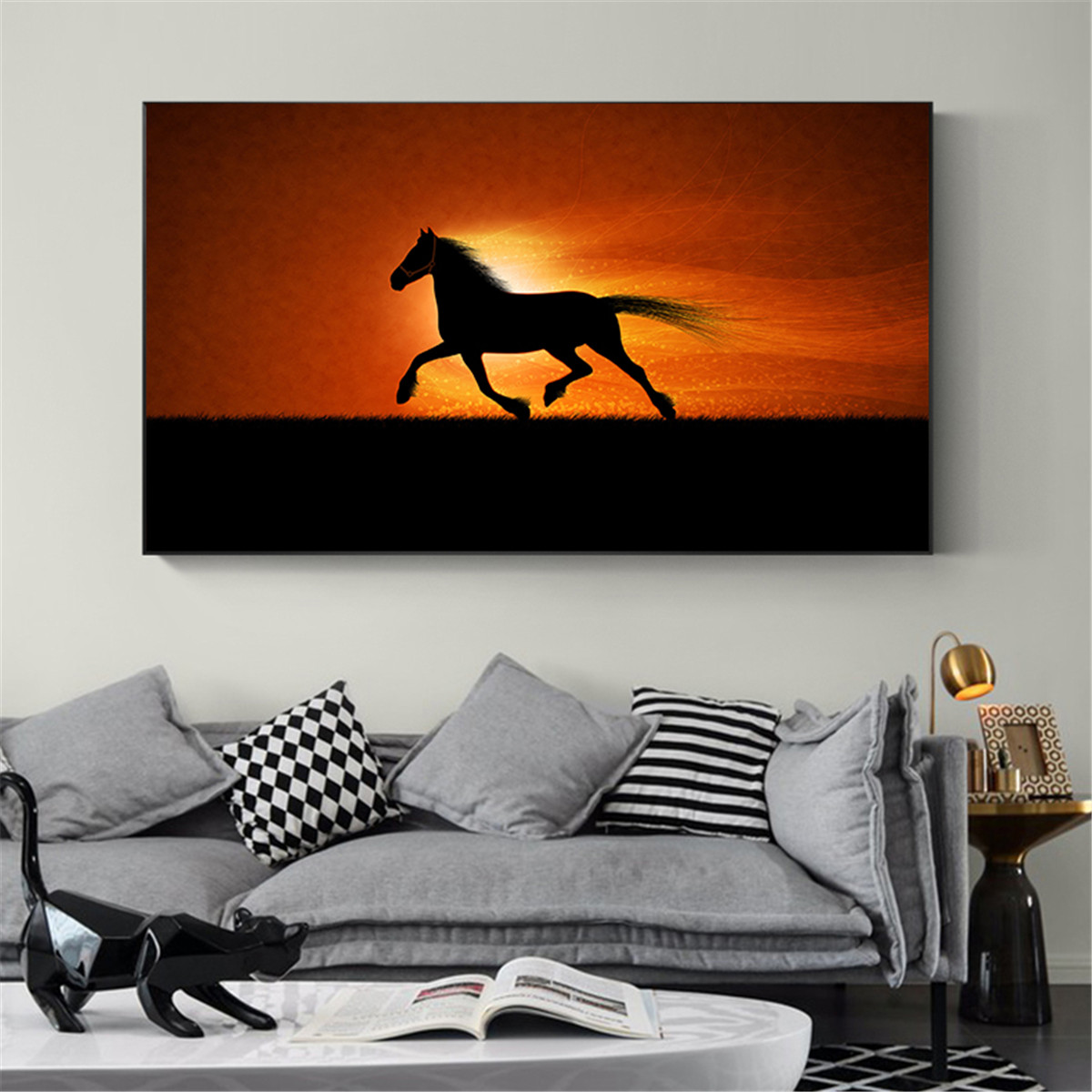Abstract Animal Oil Painting on Canvas Wall Picture Modern Cuadros Decor For Living Room Creative Sunset Running Horse