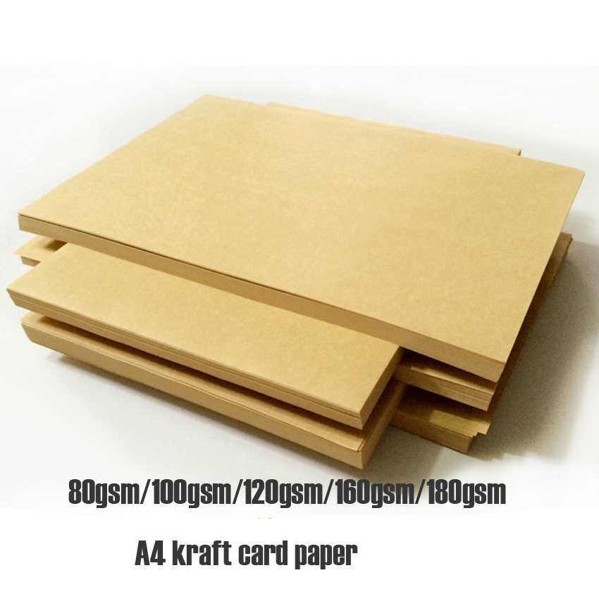 2018 Free Shipping 100pcs In/ A4 Size21x29.7cm Kraft Card Paper 80/100/120 /180gsm Gift Book Packing Wedding Party Decorations