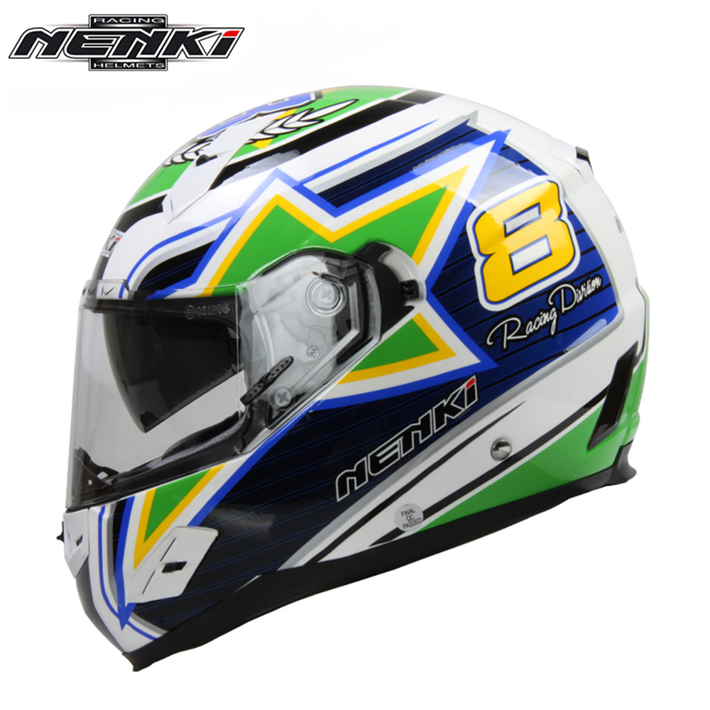 NENKI Motorcycle Full Face Helmet Fiberglass Shell Street Bike Motorcycle Racing Helmet with Dual Visor Sun Shield Lens FF856 for top gear the stig helmet with silver visor tg collectable like simpson pig yellow motorcycle helmet you re the stig