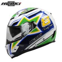 NENKI Motorcycle Full Face Helmet Fiberglass Shell Street Bike Motorcycle Racing Helmet with Dual Visor Sun Shield Lens FF856