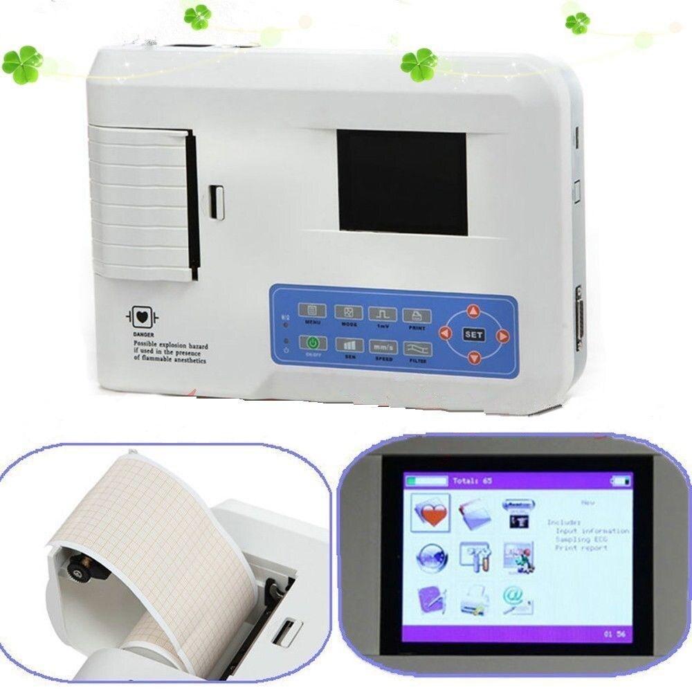 3 canais ecg/ekg máquina com impressora e papel e software usb ecg300g novo frete grátis