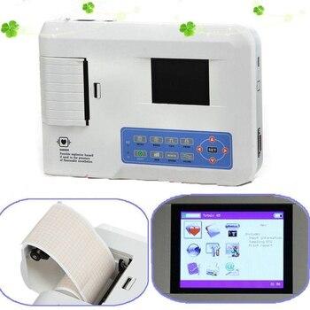 3 canales ECG/EKG máquina con impresora y papel y Software USB ECG300G nuevo envío gratis