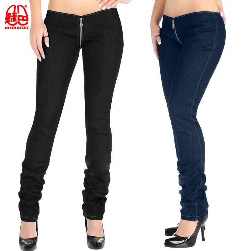 Sexy Women Denim Zipper Open Crotch Pencil Pants Punk Low Waist Leggings Casual   Jeans   Pants Capris Club Dance wear Plus Size X56
