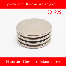 50PCS round diameter 15mm thickness 1mm n35 Rare Earth strong NdFeB Neodymium Magnet for industrial DIY