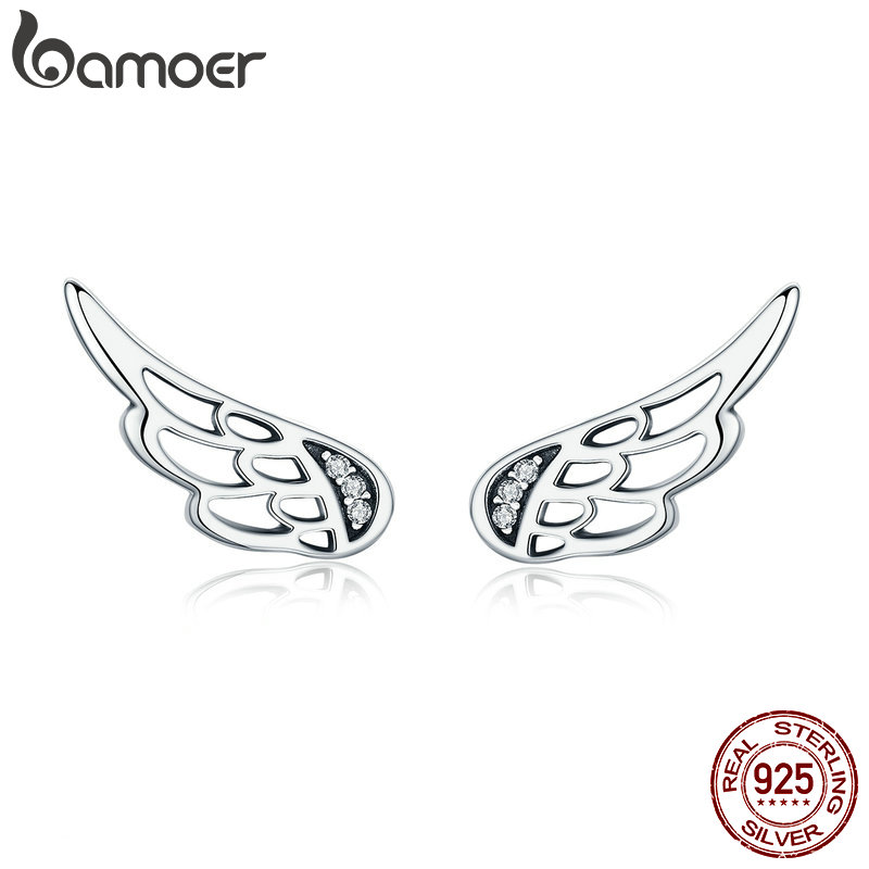 BAMOER 11.11 Deal Genuine 925 Sterling Silver Feather Fairy Wings Stud Earrings Silver for Women Fashion Silver Jewelry SCE343 silver wings silver wings 22ee017772c x 153