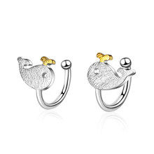XIYANIKE 925 Sterling Silver Ear Jewelry Sweet Romantic Little Whale Wire Drawing Ear Clip For Women Girls Gift Prevent Allergy(China)