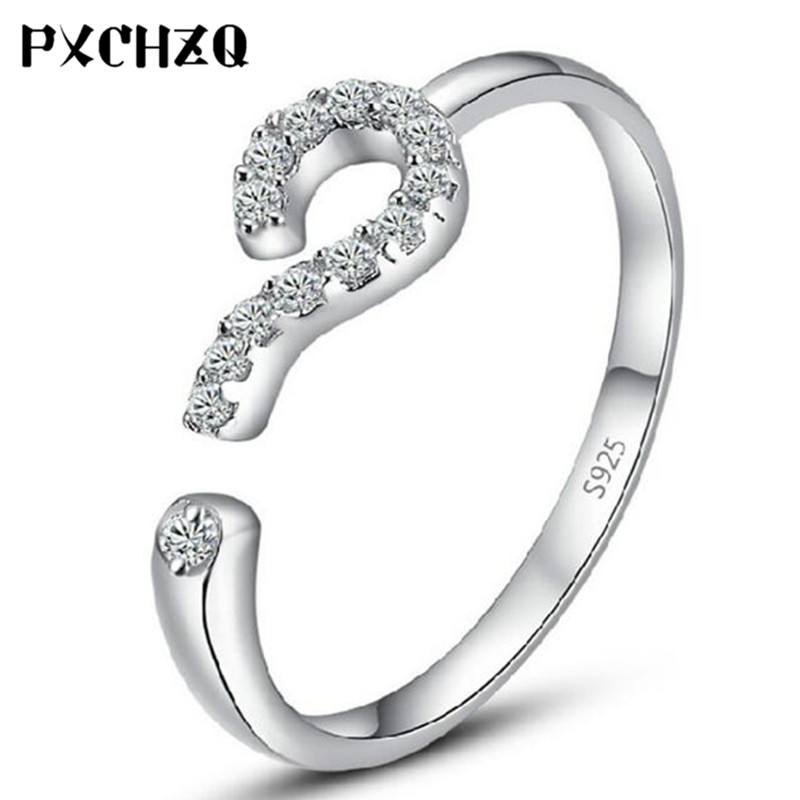 Fashion popular female silver color ring love greeting question mark ring jewelry The opening is adjustable