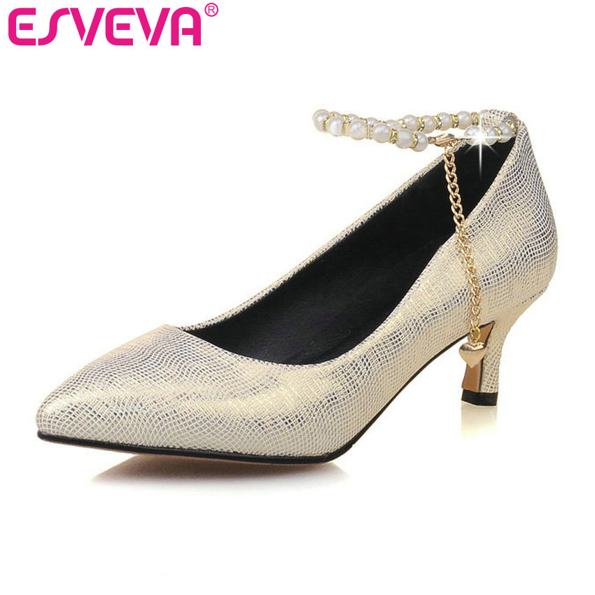 ESVEVA 2017 Med Heel Women Pumps Spring Autumn Shoe Thin Heel Women Shoes Pointed Toe Ankle Strap Sliver Wedding Shoe Size 34-43 esveva sexy flock thin high heel women pumps summer party pointed toe woman pumps ankle strap ladies wedding shoe size 34 43