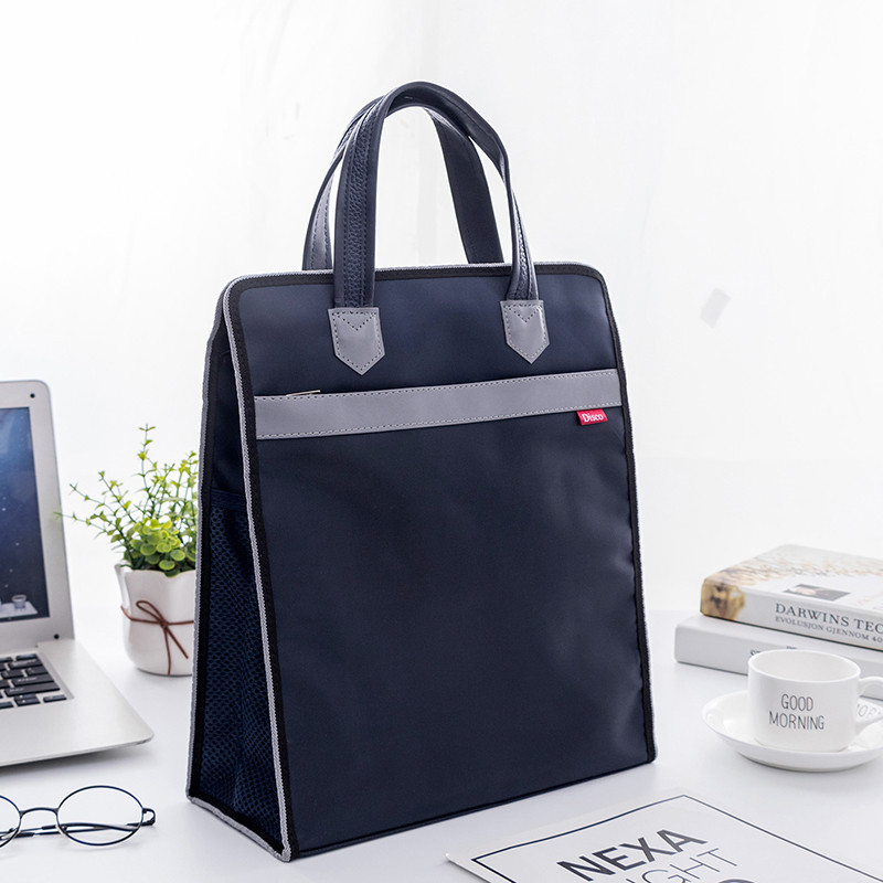 Waterproof A4 Oxford+PU Business Portable Document Bag Laptop Handbag Office Meeting Contract Document Bag Students Tutorial Bag