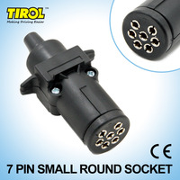 TIROL Black 7 Pin Round Socket Trailer Light Connector 12V 7 Way Female Trailer Adapter For