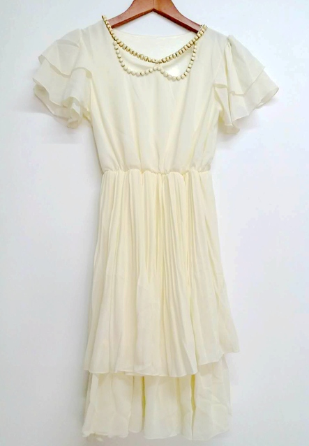 Summer new women solid color short  petal sleeve shell buckle decorative hollow collar chiffon dress Layered dress