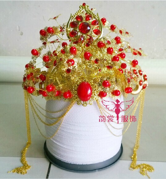 00005 Red Gold Bride Wedding Hair Tiaras Ancient Chinese Empress Hair Piece 03 red gold bride wedding hair tiaras ancient chinese empress hat bride hair piece