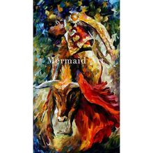 Hand Painted Landscape Abstract Dance With The Bull Palette Knife Modern Oil Painting Canvas Wall Living Room Artwork Fine Art