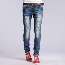 Neue Berühmte Marke Vintage Männer designer Casual Loch Zerrissene Jeans Mens Fashion Dünne Denim Hosen Slim Fit Männliche Hosen