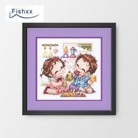Fishxx Cross Stitch Package A3203 Korean Cartoon Character Cute Couple Restaurant Tasting Food