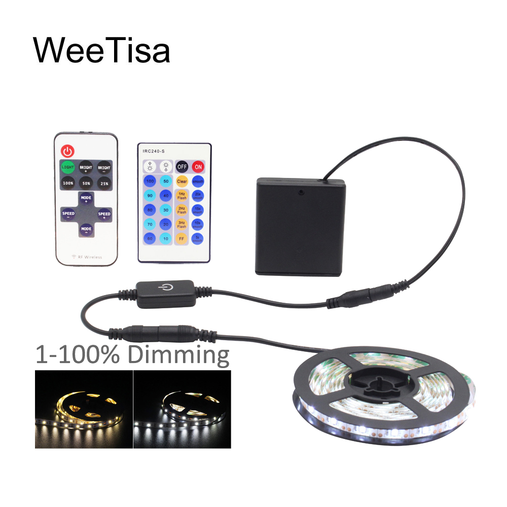 LED Tape Battery Operated 5V Dimmable SMD 2835 Waterproof Touch IR RF Remote Control Battery Powered Flex LED Strip Stripe Light