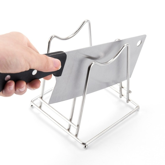 ANHO Cutting Board Holder Stainless Steel Pot Lid Rack Stand Knife Block Dish Storage Shelf Kitchen Utensils Organizer Silver
