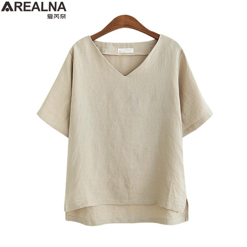 Women Blouses 2018 Summer Fashion Cotton Linen blouse women tops Short Sleeve Casual Loose office shirt Blusas Plus Size 5XL 1