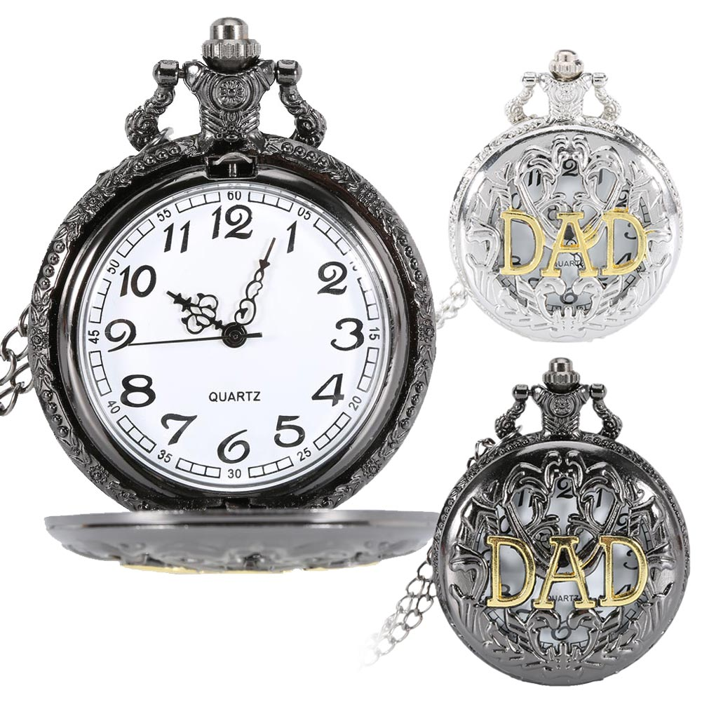 Vintage Hollow DAD Design Pocket Watch Pendant Necklace Men Happy Father's Day Chain Clock Gifts LXH old antique bronze doctor who theme quartz pendant pocket watch with chain necklace free shipping