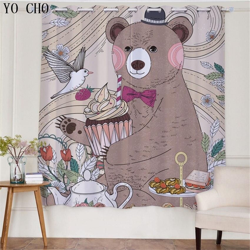 YO CHO Cartoon animal ours 3d motif rideaux pour enfants chambre moderne fenêtre rideau salon rideaux occultants rideau de poinçonnage