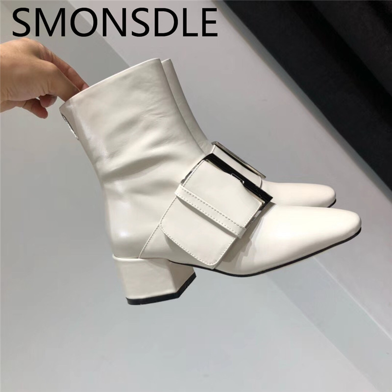 SMONSDLE New Genuine Leather White Women Ankle Boots Round Toe Buckle Back Zip Chunky Heel Women Autumn Winter Boots Shoes Woman women autumn winter wedges chunky heel height increase elevator genuine leather buckle zip fashion ankle boots 34 39 sxq0724