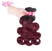 Queen Love Hair Pre-colored Ombre Peruvian Body Hair 1B 99J/Burgundy Two Tone Human Hair Bundles 3PC Non Remy Hair Free Shipping(China)